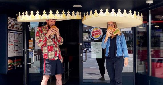Burger King modifies cardboard crowns to encourage social distancing