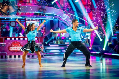 Mark Wright shakes his hips while Gemma Atkinson jives with boyfriend Gorka Marquez on Strictly Christmas special