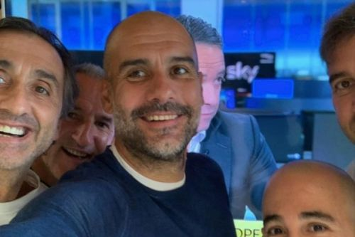 Guardiola pictured celebrating Man City's successful Champions League appeal