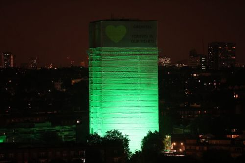 Grenfell Tower Illuminated In Green To Mark One-Year Anniversary Of Fire