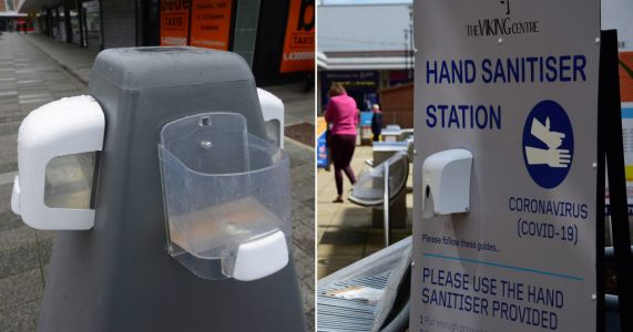 Town centre hand gel stations being smashed up 'for alcohol gel inside'
