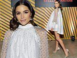Olivia Culpo shows off her legs in baby doll dress and heels at Stella Artois and Bumble event in LA