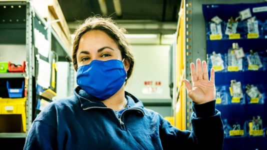 United upcycles old uniforms into employee face masks