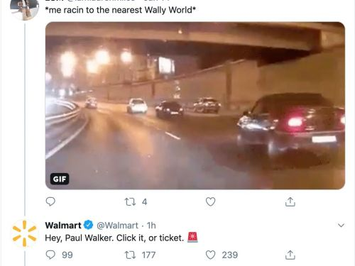 Walmart is getting blasted for a now-deleted tweet that seems to make fun of late 'Fast and the Furious' actor Paul Walker