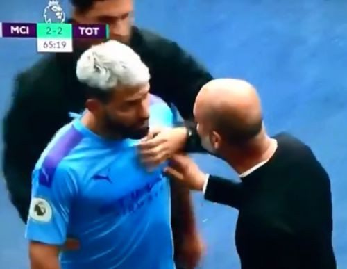 Pep Guardiola and Sergio Aguero in furious touchline bust-up after striker subbed caught on live TV