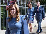 Princess Beatrice dons a typically elaborate hat for an Easter Sunday service at St George's Chapel
