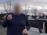 'Drunk' BMW driver with 'vodka' in the front seat stumbles out of his car to confront shopper