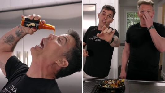 Gordon Ramsay meets his match as Steve-O freaks him out while cooking together