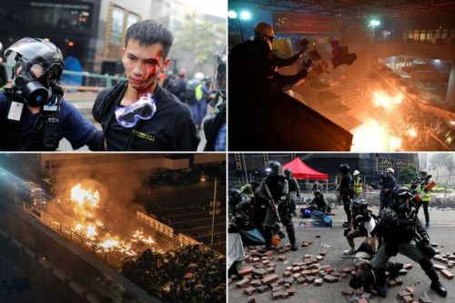 Police trap 800 students inside Hong Kong university and threaten to shoot over unrest