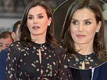 Queen Letizia of Spain cuts a stylish figure in black patterned dress at tourism fair in Madrid