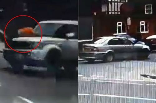 Shocking clip shows man clinging on to bonnet of 4x4 as it speeds through street
