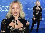 Dove Cameron looks sensational in a floral mini dress and thigh high boots at Frozen Tour premiere