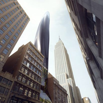 """MAD imagines sinuous black East 34th skyscraper to """"soften"""" New York's skyline"""