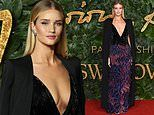 British Fashion Awards: Rosie Huntington-Whiteley wows in low-cut feathered gown