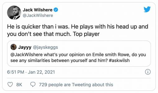 'Top player': Jack Wilshere raves about Arsenal youngster