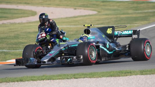 F1 ace Lewis Hamilton and MotoGP star Valentino Rossi swap machines - video, pictures and social media posts