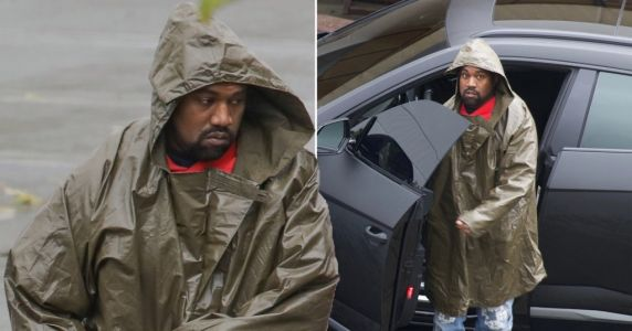 Kanye West doesn't let the coronavirus pandemic or the rain stop him from going to work