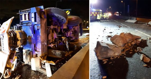M25 closed after crane flips over and smashes through central reservation