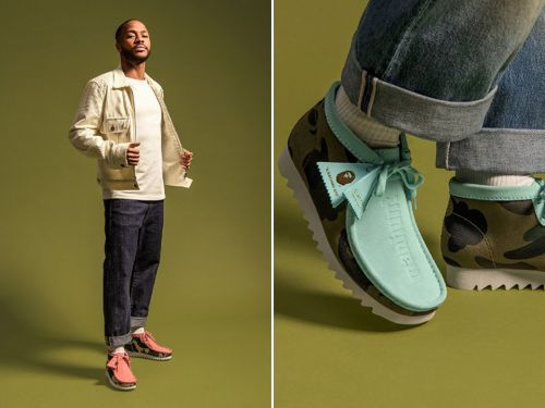 Clarks and BAPE create Wallabee and Desert Boot collection modelled by Raheem Sterling