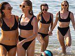 Candice Brown wows in a black bikini as she lives it up with X Factor's Diana Vickers in Whitstable