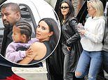 Kanye West arrives with Kim, Kourtney and Khloe Kardashian to his famous Sunday Service