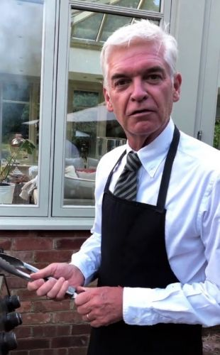 Phillip Schofield dresses up in a suit and tie for a family BBQ with wife Steph