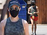Lucy Hale parades her incredibly toned arms as she tackles another hot Saturday hiking session