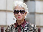 Helen Mirren, 74, wears flowing snake print dress to Victoria Beckham's London Fashion Week show