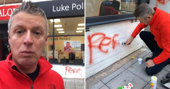 Labour candidate targeted with homophobic slurs sprayed onto his office