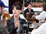 Normal People's Daisy Edgar-Jones and beau Tom Varey enjoy a pint in beer garden with pals