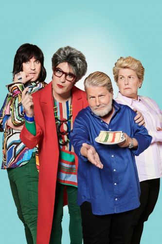 Great British Bake Off Hosts Noel Fielding And Sandi Toksvig Dressed As Judges Prue Leith And Paul Hollywood Is Quite Something