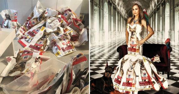 Woman turns 200 dog food bags into stunning dresses and swimwear