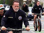 Arnold Schwarzenegger joined by son Patrick and pal Ralf Moeller for daily bicycle ride in LA