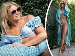 Sonia Kruger, 55, flaunts her 'gorgeous legs' as she sizzles poolside in a baby blue bikini
