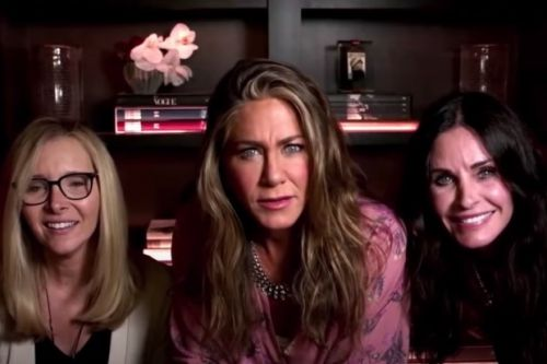 'We've been roommates since 1994': Jennifer Aniston jokes that she lives with Courteney Cox and Lisa Kudrow during mini Friends reunion at Emmys