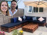 Woman who couldn't afford a rattan sofa builds one for FREE from discarded wooden pallets