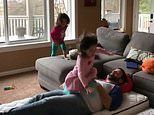Slo-mo video captures the moment little girl falls knee-first on her dad's crotch
