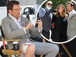 Dylan McDermott sports a bloody knee on the set of Law & Order: Organized Crime