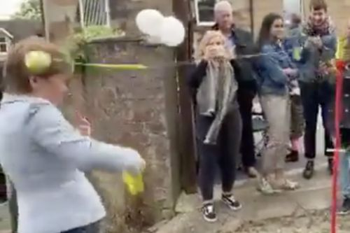 Watch as Nicola Sturgeon comes a cropper as she is whacked on head by tennis ball at Glasgow festival