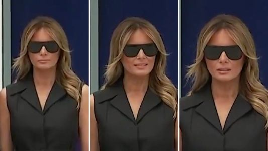 Melania Trump gives pained grimace after Donald asks her to smile during shrine visit