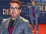 Robert Downey Jr. suits up in stripes as he steps out at the Berlin premiere of Dolittle