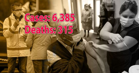 Another 315 people die with Covid as 6,385 cases are recorded