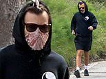 Harry Styles covers his face with scarf in isolation