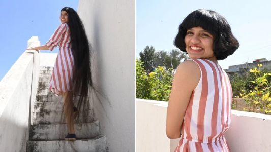 Teen with 6ft 6 long hair has it cut into short style for first time in 12 years