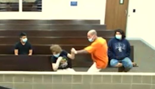 Shocking moment 'child molester' attacks man in court and screams 'You learned your lesson!'