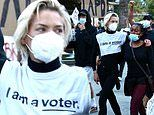 Jaime King dons an 'I am a voter' tee while protesting outside LA Mayor Eric Garcetti's home