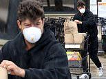 Robin Thicke wears respirator mask as he picks up groceries at Malibu supermarket amid April showers