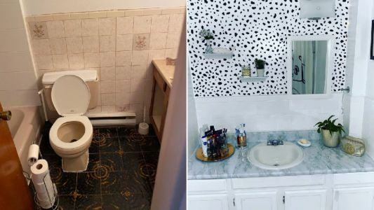 Gran transforms 1970s style bathroom for under £60