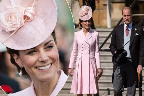 Kate Middleton stuns in pale pink coat dress as she attends Buckingham Palace garden party with Prince William