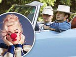 Katy Perry plays sad clown on the cover of new album and test drives classic car with Orlando Bloom